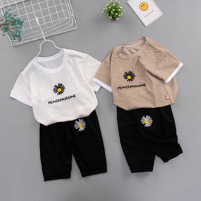 2020夏季新款童装男儿童套装女童短袖七分裤小雏菊刺绣衣服两件套