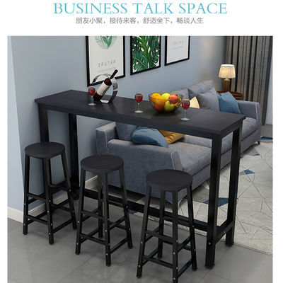 新款靠墙吧台桌家用窗边桌长餐桌奶茶店高脚吧台桌椅组合长条桌窄