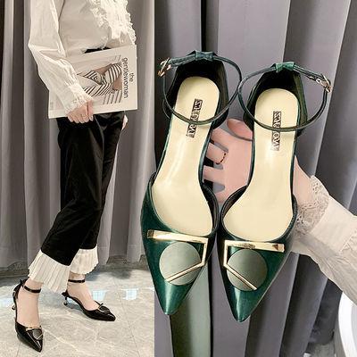 5厘米细跟软皮面一字扣方扣凉鞋新款时尚百搭法式高跟鞋仙女单鞋