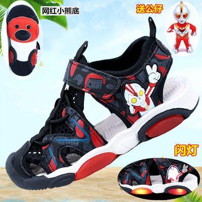 奥特曼闪灯凉鞋2020夏季男童休闲沙滩凉鞋中小童包头凉鞋防滑凉鞋