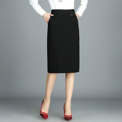 71387/2021春秋新款中老年半身裙女中长款弹力高腰包臀裙显瘦过膝直筒裙