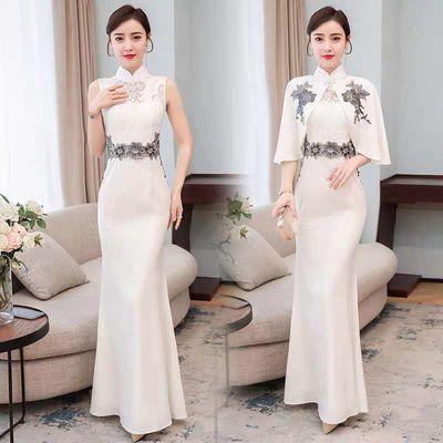 实拍改良复古旗袍晚礼服年轻款少女旗袍新款女连衣裙长款优雅
