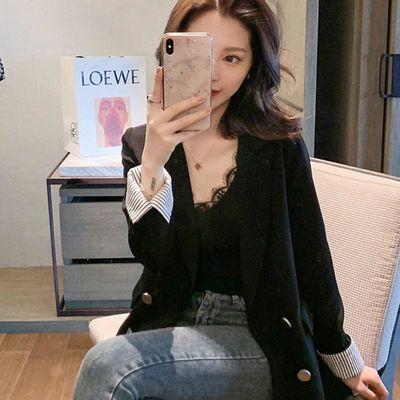 2019春秋新款双排扣网红小个子黑色休闲小西装女装chic宽松外套
