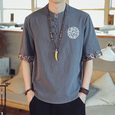 2020新款中国风复古短袖男士T恤刺绣大码胖子半袖唐装上衣服男装