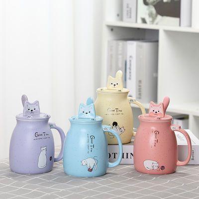 卡通马克杯超萌猫咪陶瓷杯带盖勺大容量星空牛奶情侣杯子男女水杯