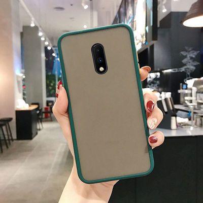 一加7手机壳透明全包防摔Oneplus7T磨砂硬壳网红新款1+7撞色可爱