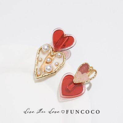 FUN设计感小众头饰红色爱心珍珠发夹小仙女日系后脑勺侧边夹