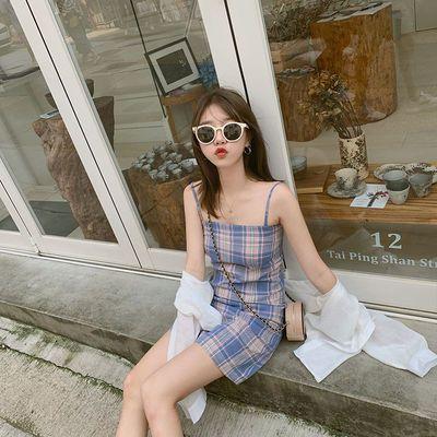 吊带连衣裙2020夏季新款女装初恋甜美清新显瘦露肩无袖格子短裙潮