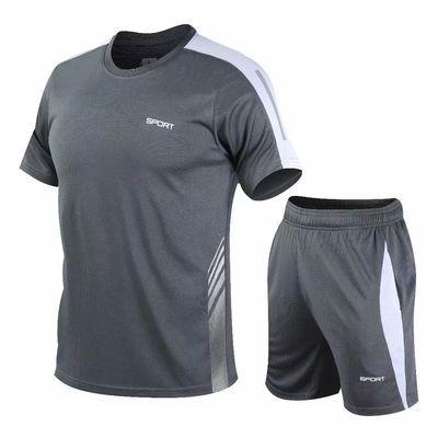 运动套装男夏季薄款健身房跑步T恤宽松短袖短裤速干羽毛球训练服