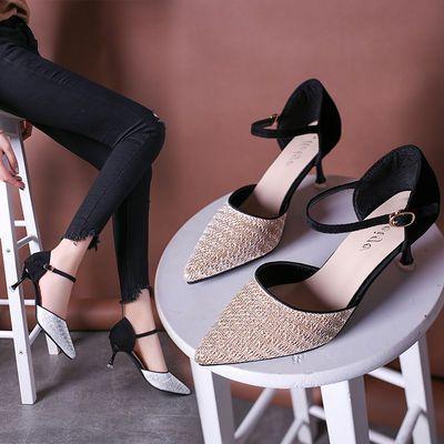 新款高跟鞋女细跟女士凉鞋韩版百搭亮片中空尖头一字扣包头凉鞋子