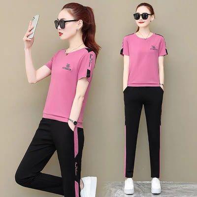 运动服套装女2020夏季新款休闲女装韩版时尚宽松洋气短袖两件套潮