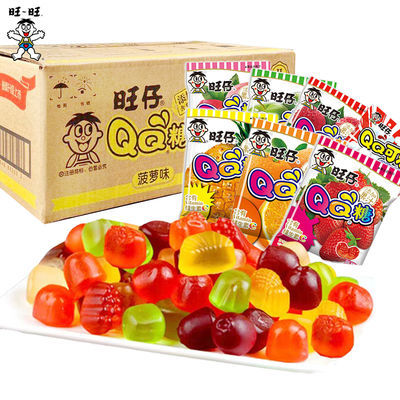 旺仔QQ糖儿童果冻布丁怀旧糖果批发网红小吃零脂肪小零食大礼包