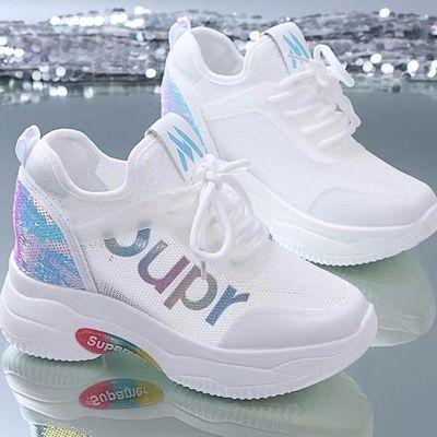 2020夏季新款网面透气小白鞋女学生运动鞋老爹鞋内增高休闲鞋女