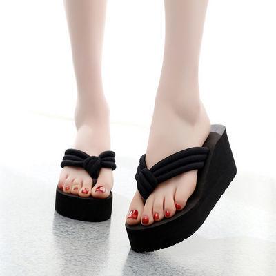 防滑拖鞋女夏时尚外穿凉拖鞋女士夹脚沙滩鞋新款高跟人字拖女厚底