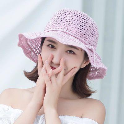 帽子女夏天出游度假防晒可折叠大沿遮阳草帽女士小清新妈妈沙滩帽