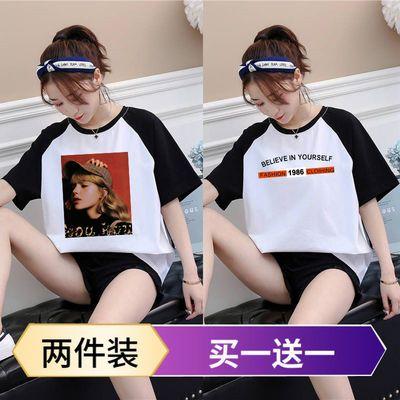 夏季新韩版宽松短款五分袖t恤女学生百搭短袖七分袖上衣T恤姐妹装
