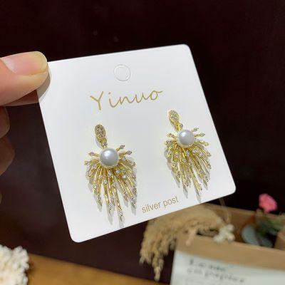 韩国东大门925银针烟花珍珠奢华耳钉网红时髦闪钻显气质耳环耳饰