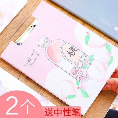 网红2个A4纸质双板单夹文件夹板学生用韩版资料夹写字考试垫板书