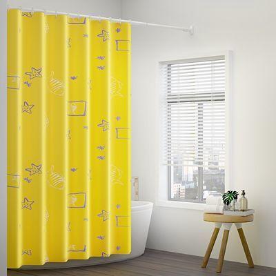 浴帘套装免打孔卫生间浴帘布防水防霉加厚浴室隔断帘浴帘杆套装