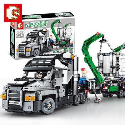 森宝积木703940积木集装箱大卡车机械密码系列儿童益智拼装玩具