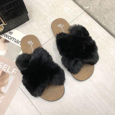 毛毛拖鞋女夏季韩版时尚百搭外穿软底防滑一字拖港风交叉仿兔毛