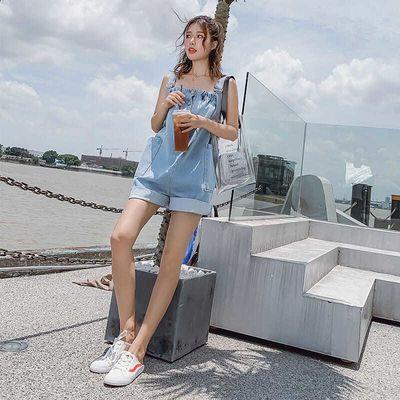 牛仔连体裤女2020新款夏韩版吊带宽松可爱阔腿大码连衣背带裤短裤