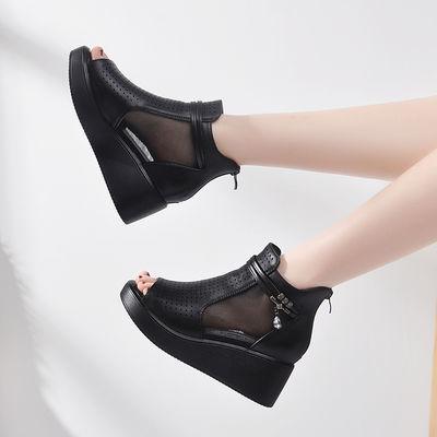 夏季新款透气网纱坡跟防水台鱼嘴女鞋百搭网面中跟松糕厚底凉鞋女