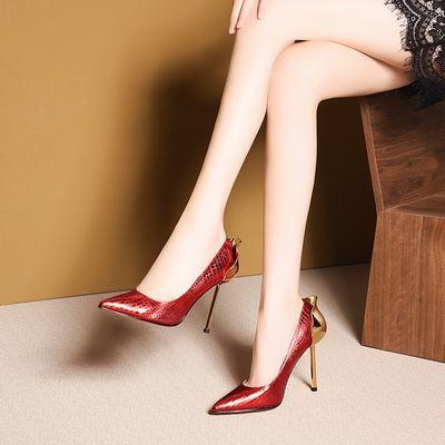 红色单鞋宴会礼服鞋尖头浅口细跟超高跟女春季韩版2020新款夜店潮