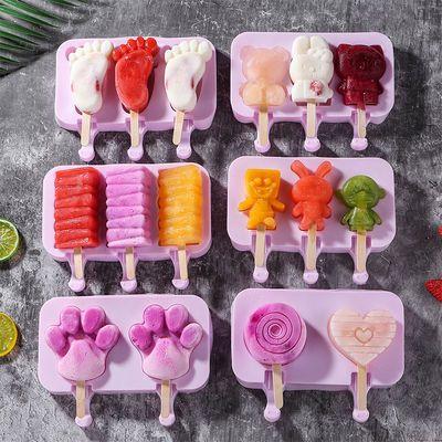 雪糕模具DIY家用冰棒冰棍冰淇淋冰糕硅胶磨具自制卡通冰块模型