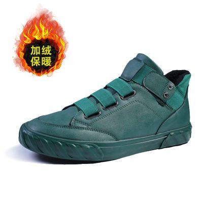 高帮鞋男2020春季新款加绒保暖棉鞋男士休闲皮鞋潮流百搭时尚短靴