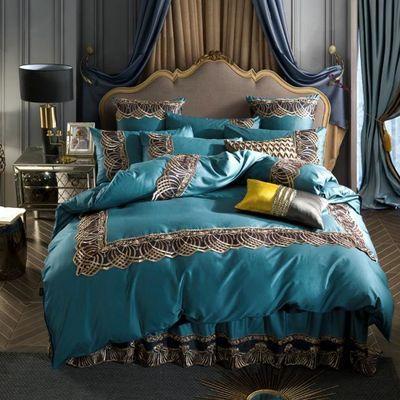 100%纯棉四件套欧式床罩全棉床单被套双人花边床裙款床上用品新款