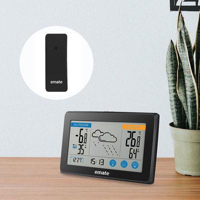 易美特 室内外温湿度计无线气象站 时间日期显示气象钟