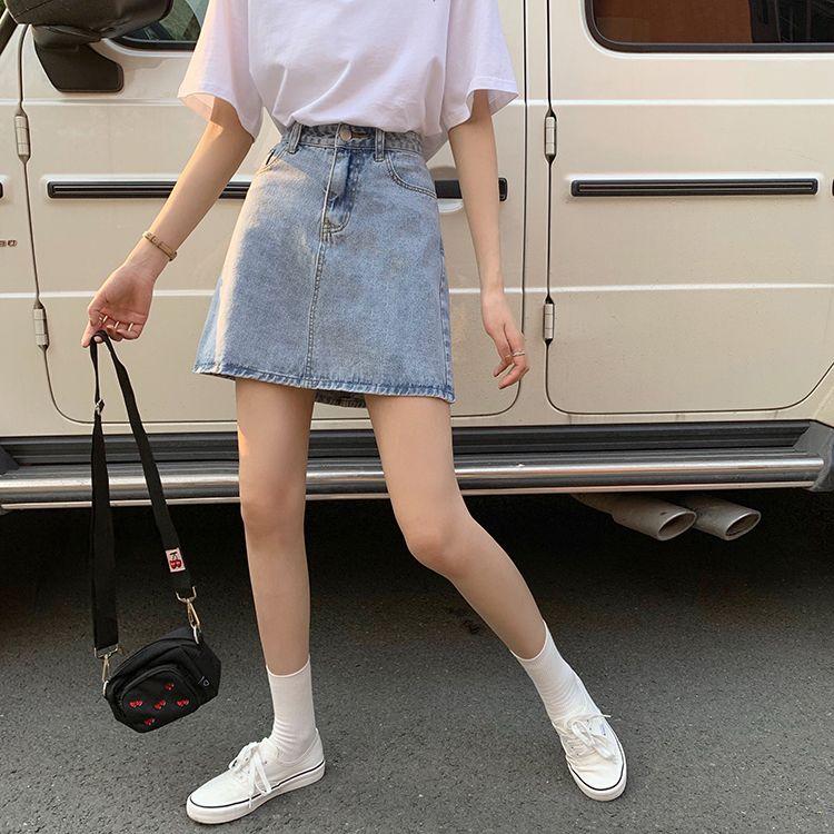 热卖新款2021夏装新款ins网红半身裙女韩版水洗牛仔裙高腰百搭学