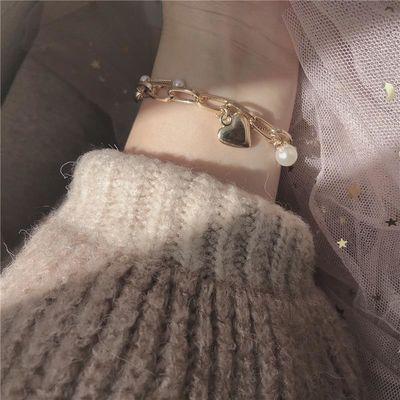 少女心超甜手链~可爱心形韩国气质双层珍珠链条桃心吊坠学生手镯