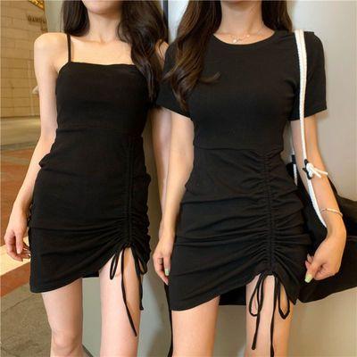 性感吊带气质闺蜜装短袖连衣裙女夏季2020新款黑色显瘦包臀短裙子