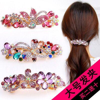 韩版发夹大号弹簧夹水晶水钻百搭发卡盘发夹子边夹发饰头饰品头花
