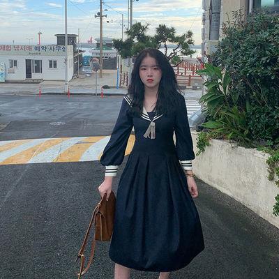 芝士日【鎏金之蝶】jk风地狱少女暗黑系显瘦连衣裙长款制服裙女秋