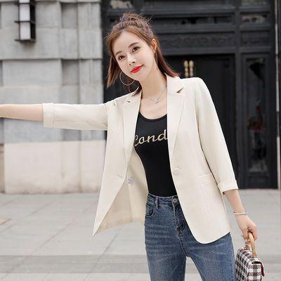 27578/小西装外套女短款2021年夏薄款韩版洋气修身小个子七分袖上衣西服