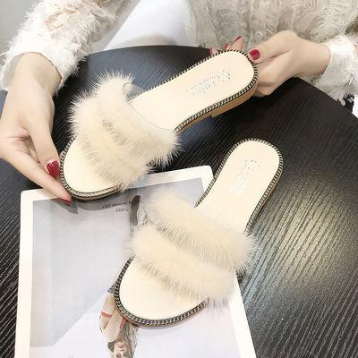 【真毛毛】毛毛拖鞋女夏外穿2020时尚韩版学生百搭网红平底凉拖鞋