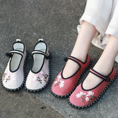 千层底复古绣花鞋女平底汉服鞋手工缝线耐磨透气禅意民族风茶服鞋
