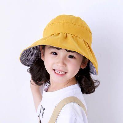 儿童太阳帽新款女童空顶帽子大帽檐夏小孩出游防晒遮阳双面折叠潮
