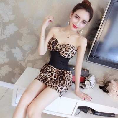 性感豹纹吊带连衣裙夏季新款低胸弹力大紧身显瘦夜店女装包臀短裙