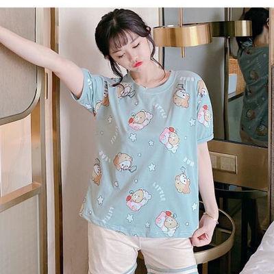 睡衣女夏韩版宽松甜美可爱公主风短袖短裤两件套装薄款学生家居服