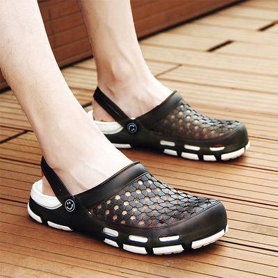 夏季洞洞鞋男士韩版拖鞋防滑包头个性沙滩鞋凉鞋凉拖透气休闲时尚