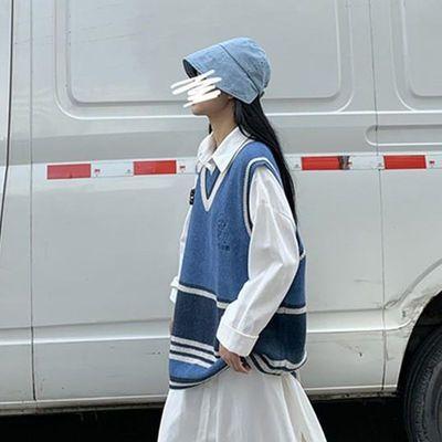 新款秋冬韩版马甲背心针织衫宽松中长款条纹V领无袖毛衣女学生潮