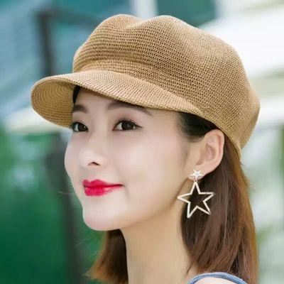 女士帽子夏天遮阳防晒草帽女韩版八角帽子女鸭舌帽百搭户外防晒帽