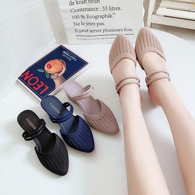 2020新款Jelly doll shoes休闲坡跟sandals slippers女凉拖鞋半包