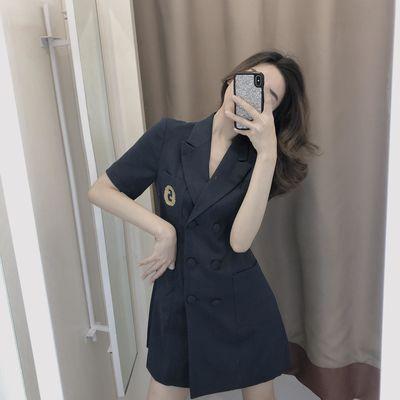 Alice W花花家休闲双排扣西装领连衣裙短袖女款气质高腰夏季裙薄