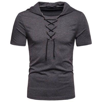 夏季大码短袖T恤肌肉男紧身潮流健身服个性连帽酒红色古惑仔半袖