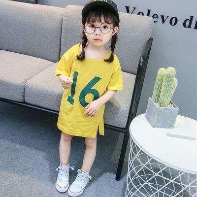 女宝宝夏装短袖T恤洋气女童中长款上衣1-3岁儿童2020新款卡通体恤